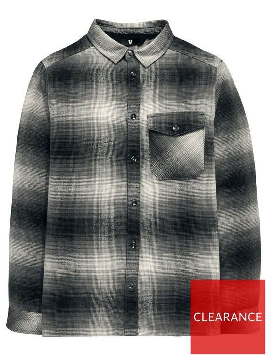 171a986566c6 V by Very Boys Brushed Checked Long Sleeve Shirt - Grey | very.co.uk