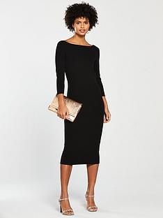c0cfe669fdb V by Very Boat Neck Knitted Dress - Black