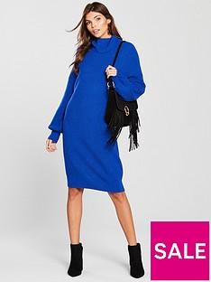 v-by-very-blouson-sleeve-roll-neck-knitted-jumper-dress-cobalt-blue