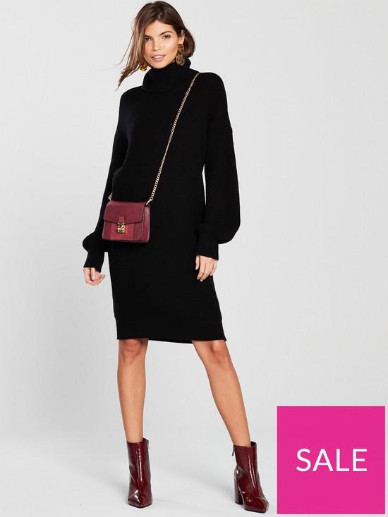 8e64ed96d5c170 V by Very Blouson Sleeve Roll Neck Knitted Jumper Dress - Black ...