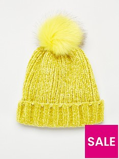 v-by-very-rebeka-chenille-pom-pom-beanie-yellow