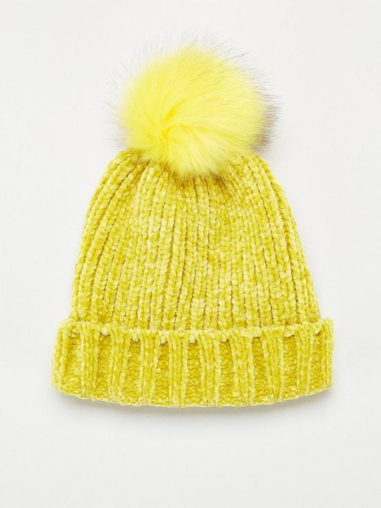 189172cba840ea V by Very Rebeka Chenille Pom Pom Beanie - Yellow | very.co.uk