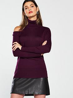 v-by-very-cut-out-roll-neck-jumper-dark-purple