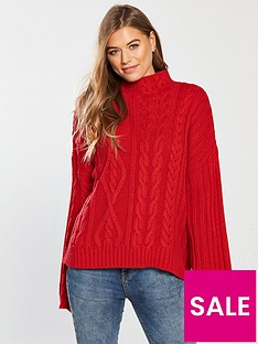 v-by-very-wide-sleeve-cable-jumper-red