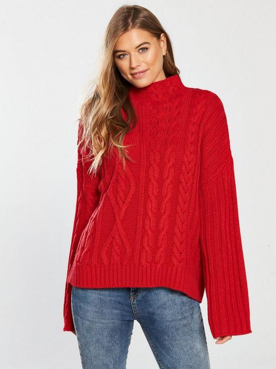 Red Wide Sleeve Cable Knit Jumper