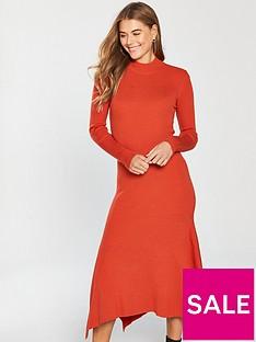 v-by-very-skinny-rib-high-neck-knitted-midi-dress-orange