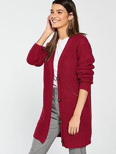 v-by-very-ribbed-button-through-cardigan-dark-red