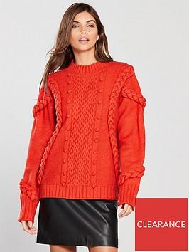v-by-very-braided-cable-pom-pom-stitch-jumper-orange