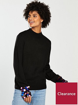 v-by-very-sequin-cuff-blouson-sleeve-jumper-black