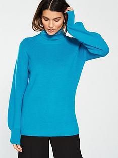 v-by-very-blouson-sleeve-turtleneck-jumper-soft-blue