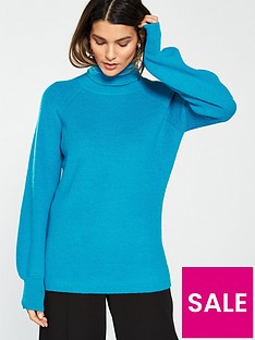 v-by-very-blouson-sleeve-turtleneck-jumper-soft-blue
