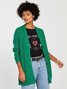 v-by-very-fisherman-rib-button-through-cardigan-green