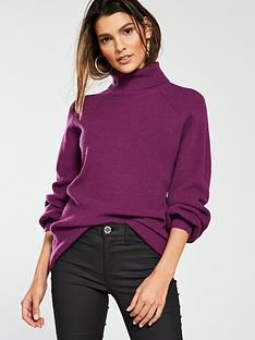 v-by-very-blouson-sleeve-turtleneck-jumper-dark-purple