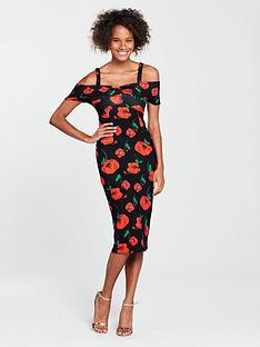 v-by-very-bardot-bodycon-dress-dark-floral-print