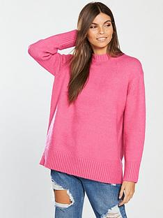 v-by-very-crew-neck-dipped-hem-longline-jumper-bright-pink