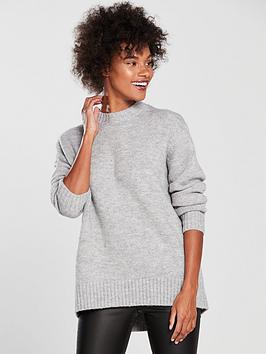 v-by-very-crew-neck-dipped-hem-longline-jumper-grey-marl