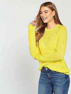 3958a317bb2a43 V by Very Metallic V-Neck Shape Jumper - Yellow