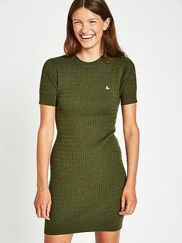 Jack Wills Danesfort Cable Knit Dress - Olive