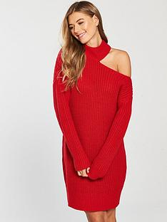 v-by-very-roll-neck-deconstructed-collar-knit-dress-red