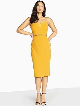 Girls On Film Double Strappy Midi Bodycon Dress - Mustard