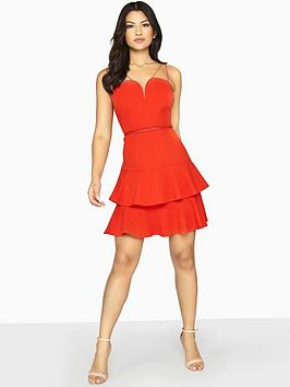 Girls On Film Double Strappy Tiered Mini Dress - Red