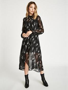 Jack Wills Coston Printed Hanky Hem Dress - Black