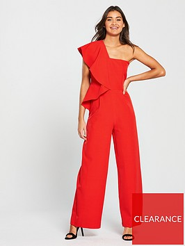 v-by-very-asymmetric-ruffle-jumpsuit-red