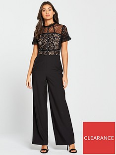 b6148fa3690 V by Very Lace and Mesh Spot Jumpsuit - Black
