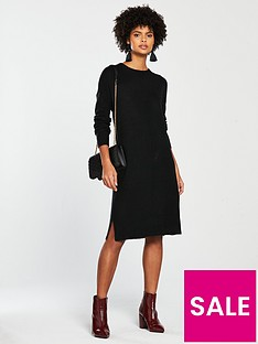 796a061af180 V by Very Crew Neck Rib Sleeve Slouch Knitted Jumper Dress - Black