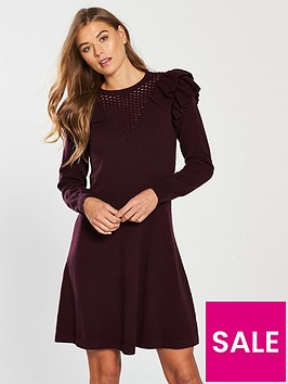 v-by-very-fit-amp-flare-frill-mesh-yoke-knitted-dress-aubergine