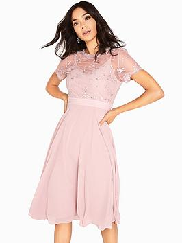 Little Mistress 3D Floral Midi Dress - Mink
