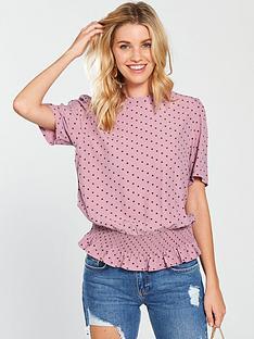 vero-moda-dotty-smock-short-sleeve-top-pinknbsp