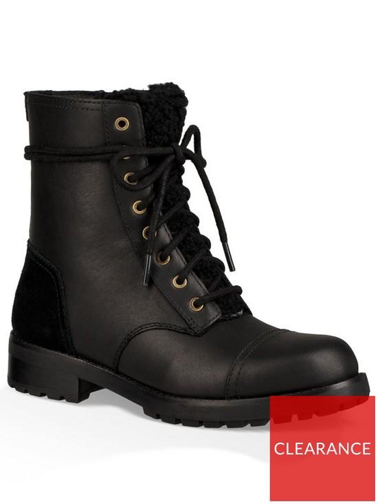 UGG Kilmer Exposed Faux Fur Ankle Boot - Black  cd1fc30cf