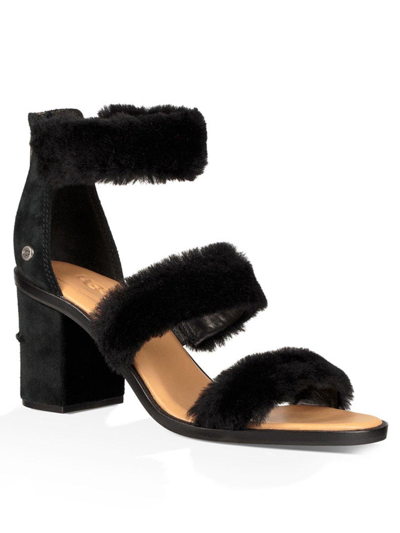 UGG Del Rey Fluffy Heeled Sandal - Black