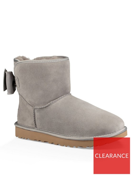 1ab1dcf2e667 UGG Satin Back Bow Back Ankle Boots - Grey