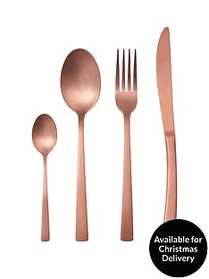 ideal-home-matt-copper-16-piece-cutlery-set