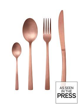 ideal-home-matt-rose-gold-16-piece-cutlery-set