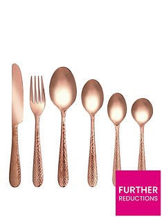 ideal-home-hammered-copper-50-piece-cutlery-set