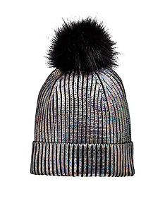 v-by-very-older-girls-metallic-pom-pom-hat-black-multi
