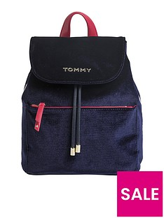 tommy-hilfiger-cool-tommy-velvet-backpack-navy