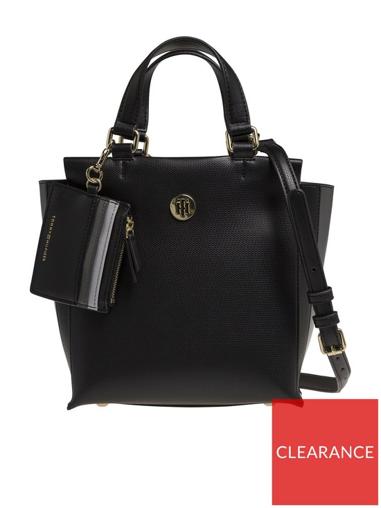 2a42f436 Tommy Hilfiger Effortless Saffiano Satchel Bag - Black | very.co.uk
