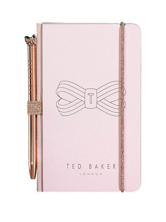 a0ae3738e3d163 Ted Baker Pink Bow Mini Notebook And Pen