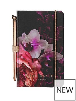 ted-baker-mini-notebook-and-pen-black-splendour