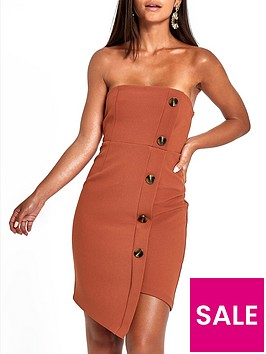ri-petite-button-through-bodycon-midi-dress-rust