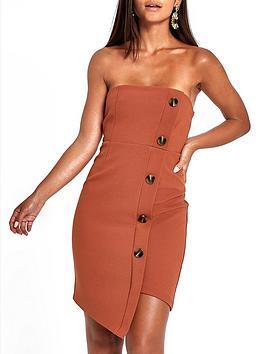Ri Petite Button Through Bodycon Midi Dress - Brown