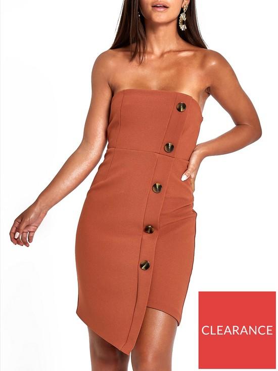6dacdd8807a61 RI Petite Button Through Bodycon Midi Dress - Brown   very.co.uk