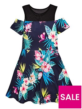 v-by-very-girls-mesh-cold-shoulder-floral-dress