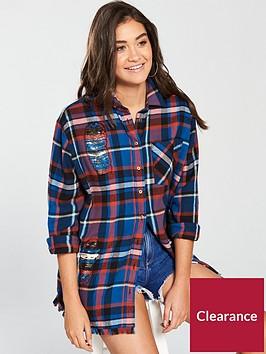 river-island-check-embroidered-shirt