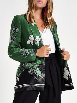 Ri Petite Floral Print Blazer - Green