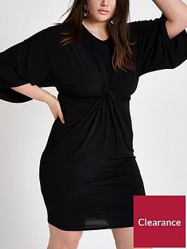 ri-plus-ruffle-knot-front-dress-black